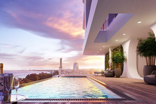 Luxury 3 bedroom apartment overlooking the azure blue waters of the Mediterranean