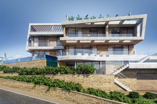 Luxurious villa with a panoramic view of the Mediterranean Sea in Ayios Tychonas